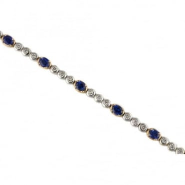 18ct White And Rose Gold Diamond And Blue Sapphire Bracelet