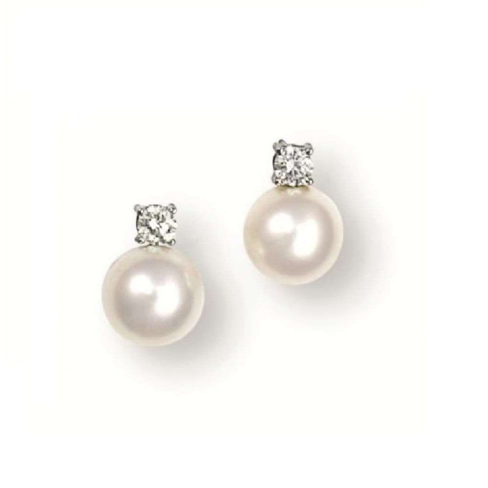 18ct White Gold Akoya Cultured Pearl Stud Earrings With Round B