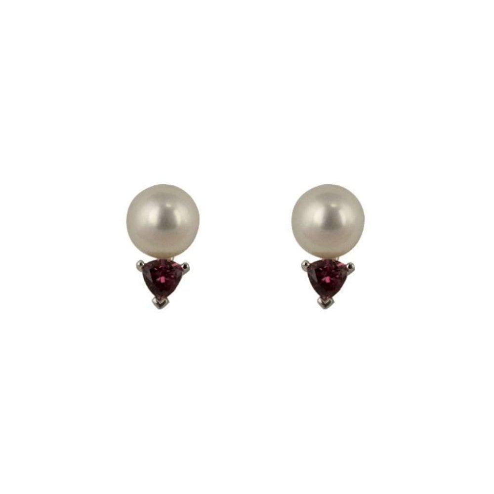 18ct White Gold Cultured Pearl Pink Tourmaline Stud Earrings