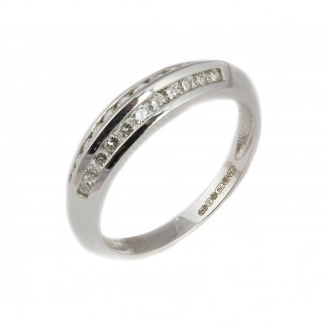 Finnies The Jewellers 18ct White Gold Diamond 2 Row Eternity Ring 0.39ct