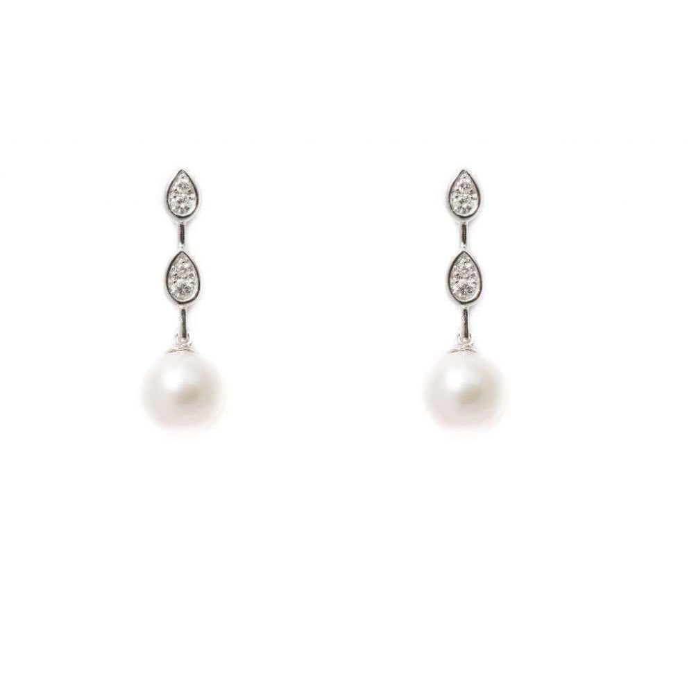 18ct White Gold Diamond And Pearl Drop Earrings 0 08ct