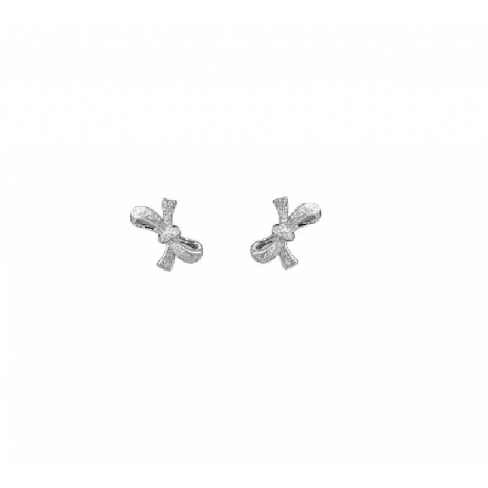18ct White Gold Diamond Bow Stud Earrings