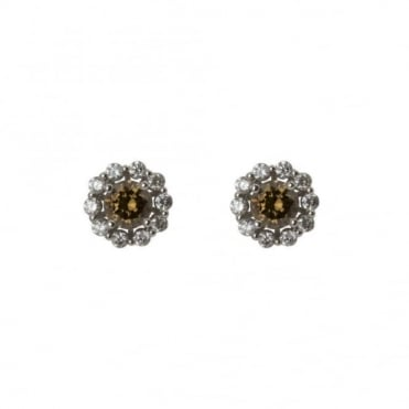 18ct White Gold Brown & White Diamond Cluster Earrings 3.08ct