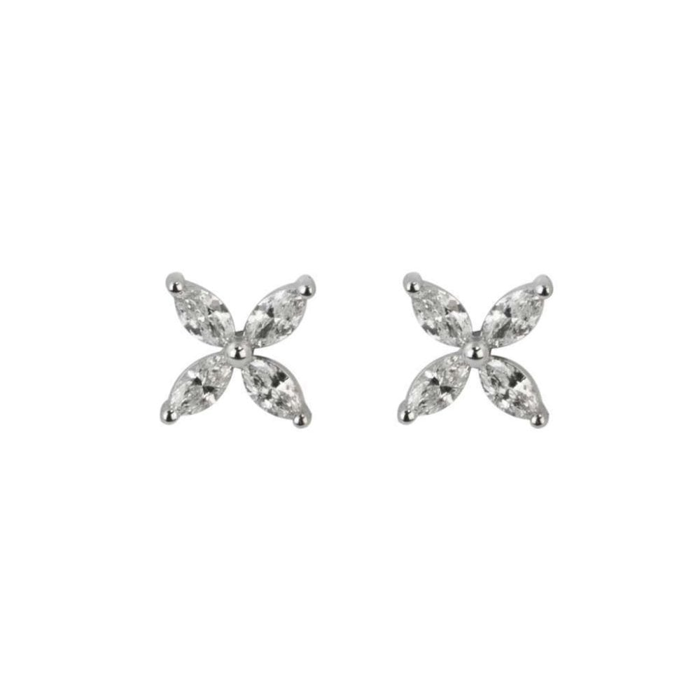 18ct White Gold Diamond Flower Stud Earrings