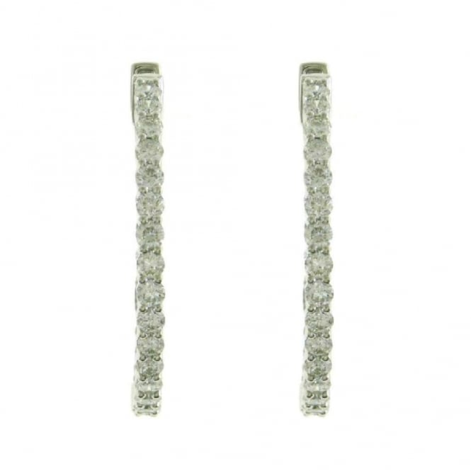 Finnies The Jewellers 18ct White Gold Diamond Hinged Hoop Earrings