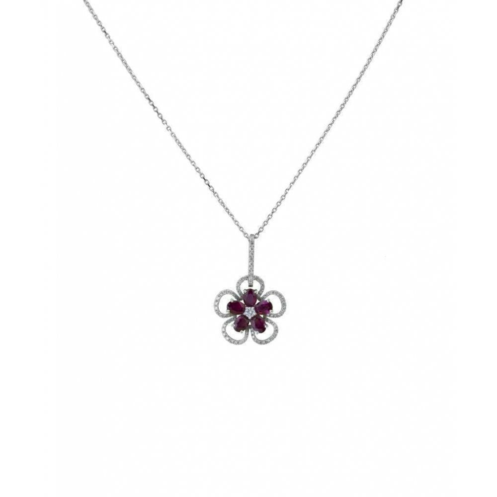 18ct White Gold Ruby Diamond Flower Design Drop Pendant
