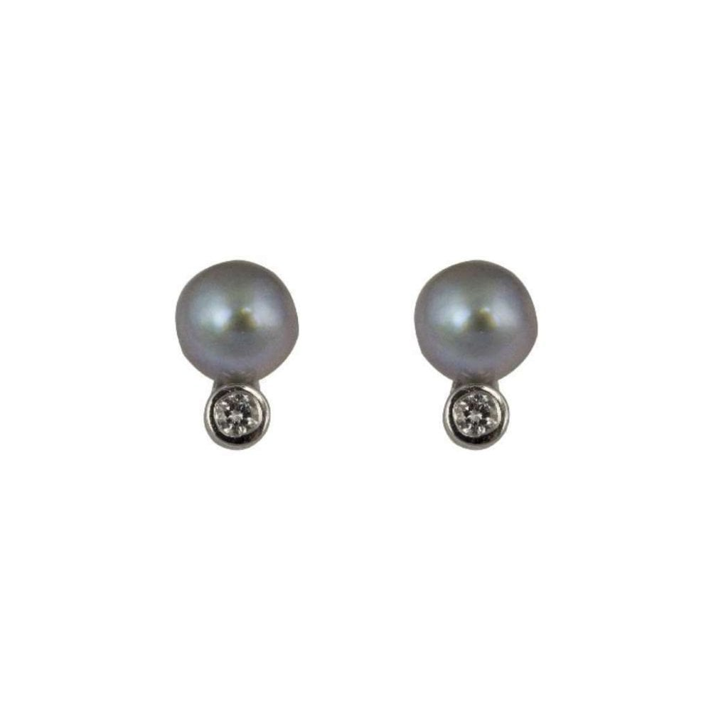 bab939d4d 18ct White Gold Single Diamond Grey Cultured Pearl Stud Earrings