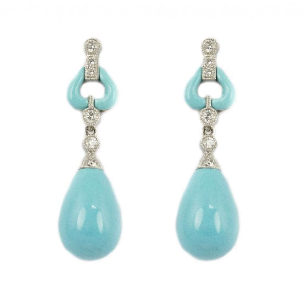 18ct White Gold Turquoise Rub Over Set Drop Earrings