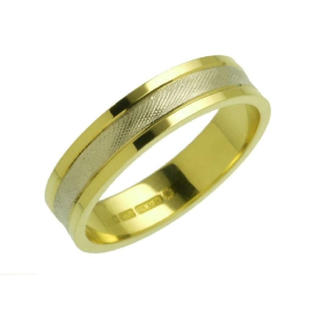 Finnies The Jewellers 18ct White Yellow Gold Textured Wedding Band 5mm