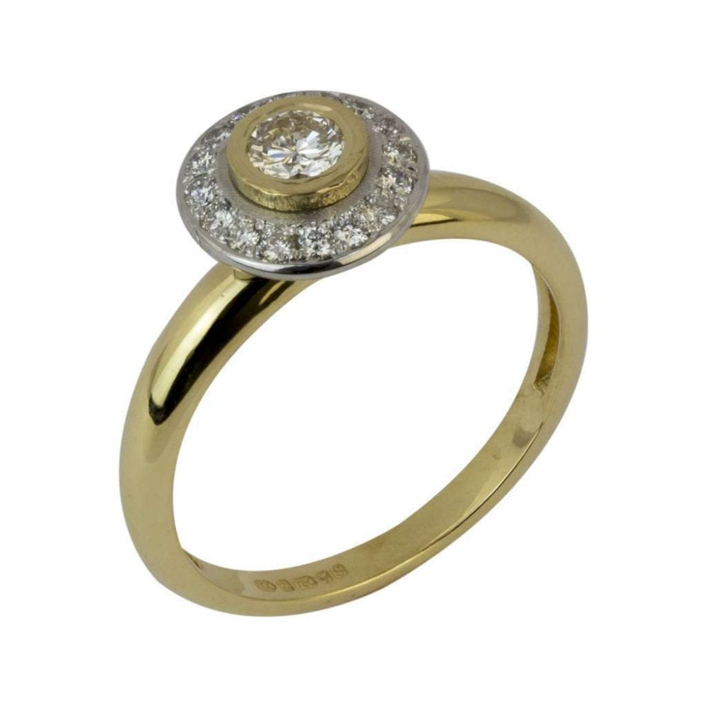 068a0d4f7 18ct Yellow and White Gold Diamond Spinning Halo Dress Ring