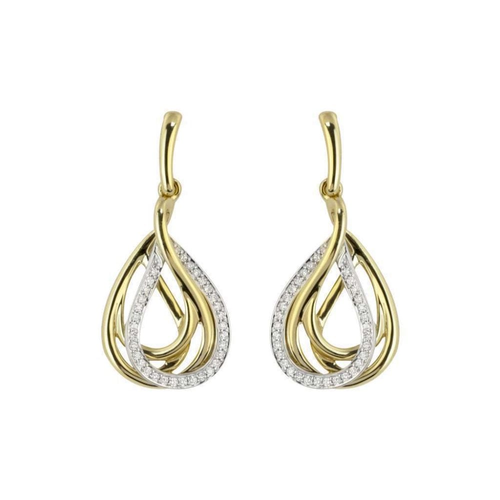 18ct Yellow And White Gold Four Row Teardrop Earrings 0 26ct