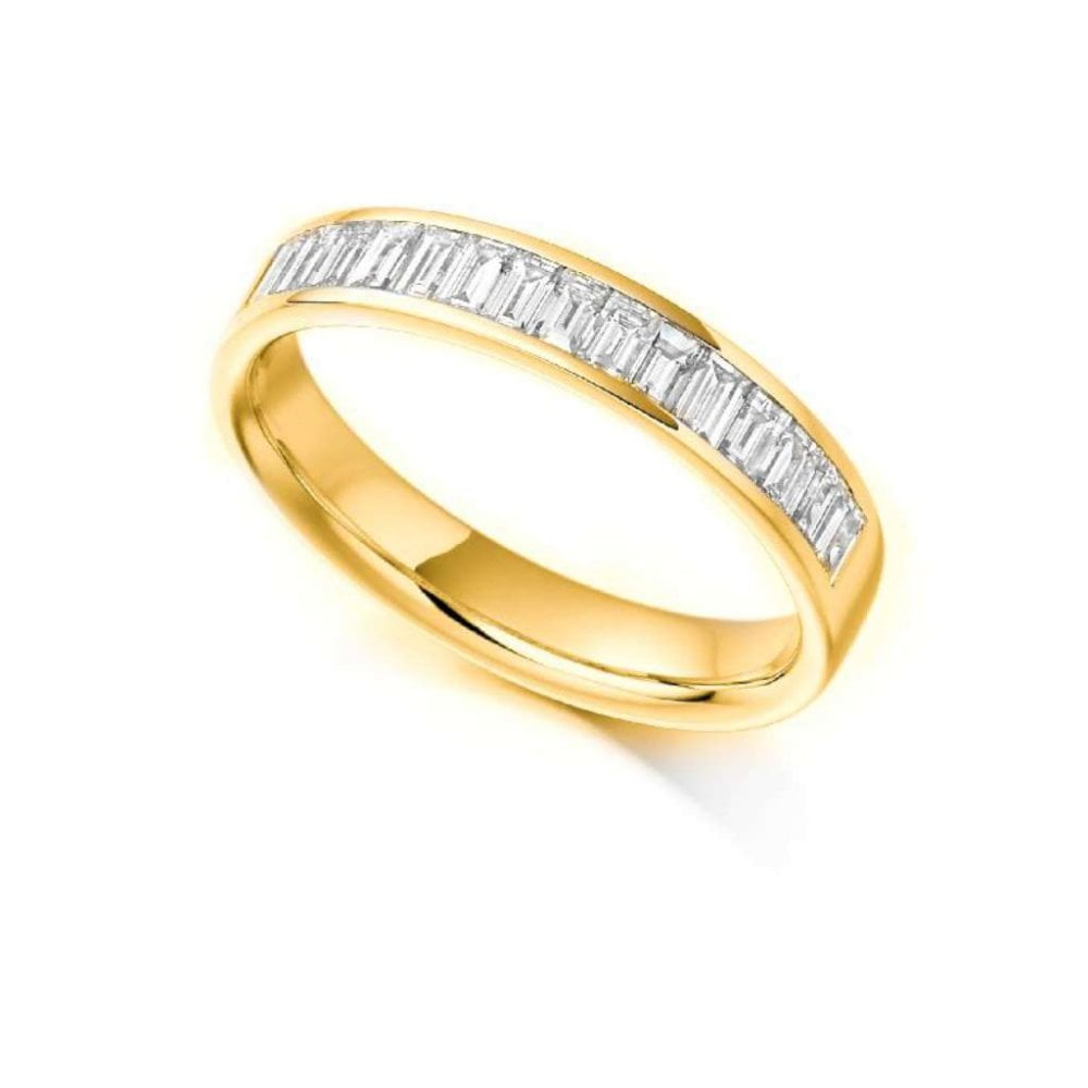 467cb385bfb47c 18ct Yellow Gold Baguette Cut Diamonds Channel Set Eternity Ring