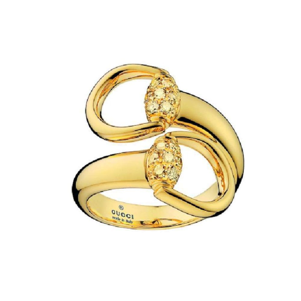 3ea85b1d36 18ct Yellow Gold Brown Diamond Horsebit Ring