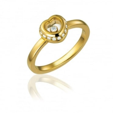 18ct Yellow Gold Diamond Set Heart Ring