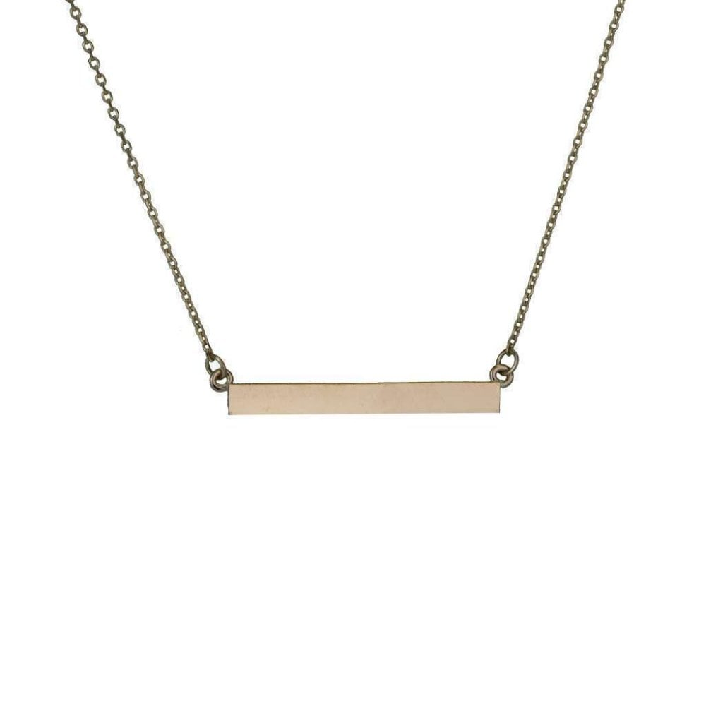 4ebdd7ee6c3 Finnies The Jewellers 9ct Rose Gold 35x4.1x1.9mm Bar Necklace with 16