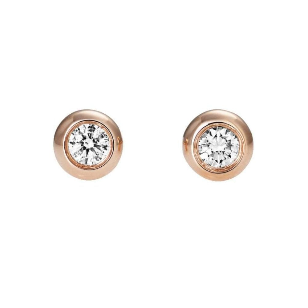 0e9c0ef3a 9CT Rose Gold Round Diamond Stud Earrings Rubover Set