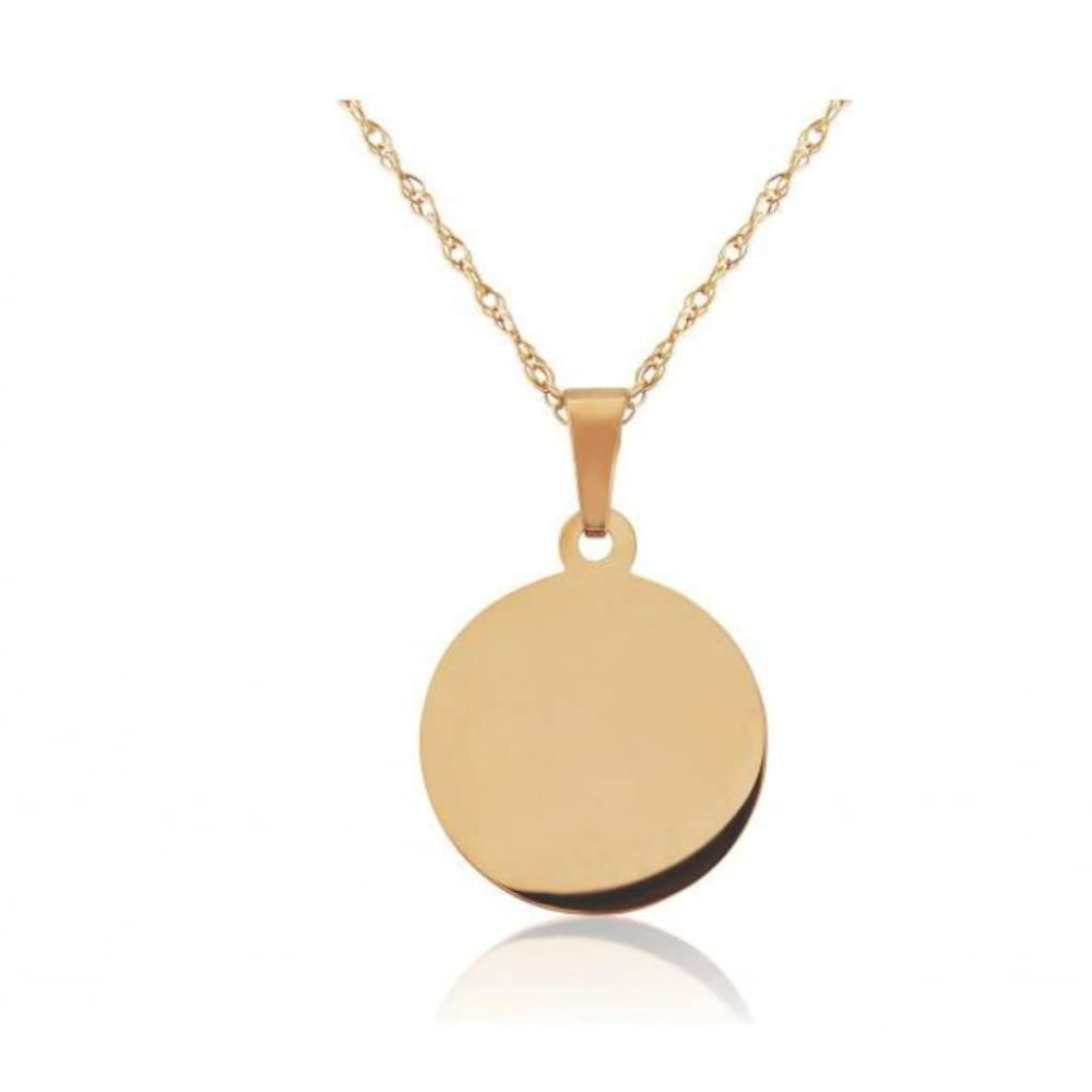 9ct Rose Gold Round Plain Disc Pendant with 16