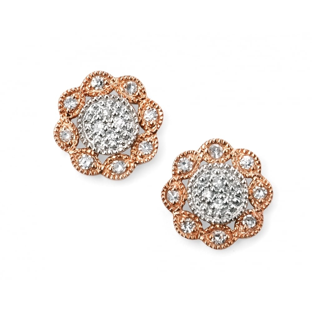 9ct White And Rose Gold Pave Set Diamond Flower Stud Earrings