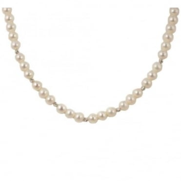 9ct White Gold 6.5-7mm Freshwater Pearl Necklet