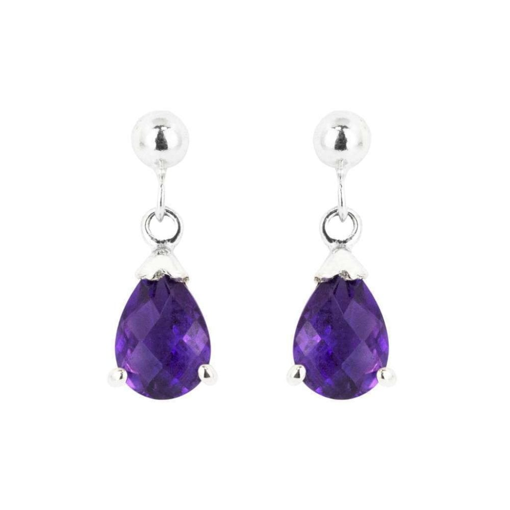 9ct White Gold Claw Set Pear Shaped Amethyst Drop Earrings