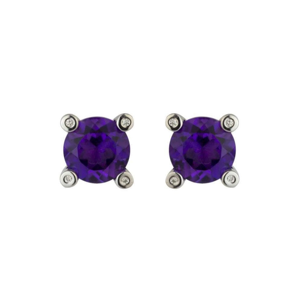 9ct White Gold Diamond And Amethyst Stud Earrings