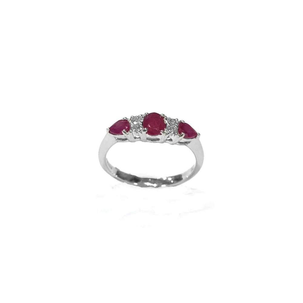 3c1355d3a1ddf 9ct White Gold Diamond And Ruby Ring