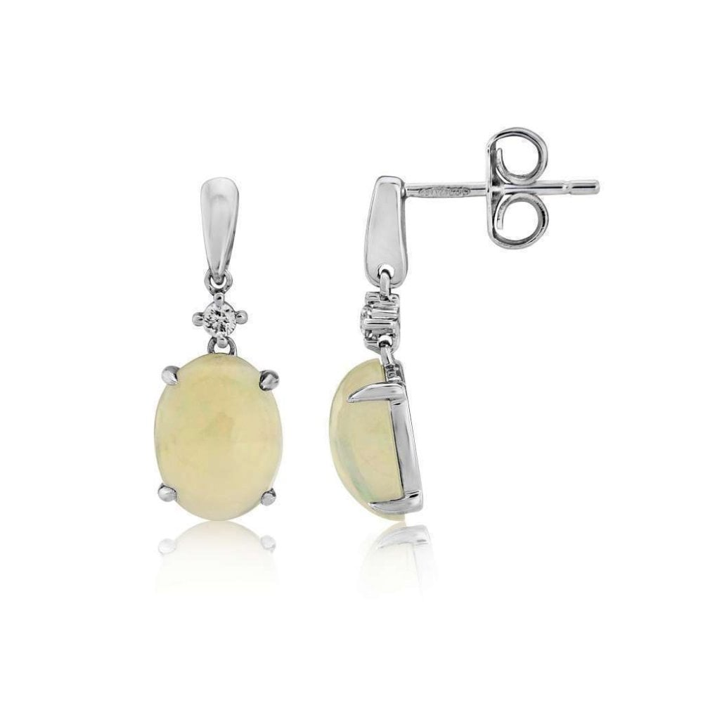 Finnies The Jewellers 9ct White Gold Drop Earrings With Diamond And Opal