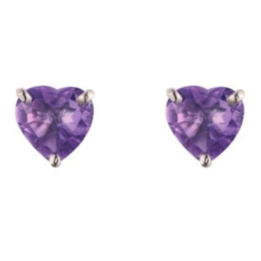 9ct White Gold Heart Shaped Amethyst Stud Earrings Claw Set