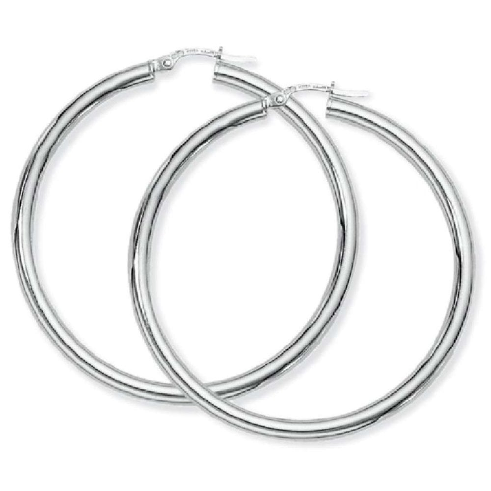 9ct White Gold Large Hollow Hoop Earrings