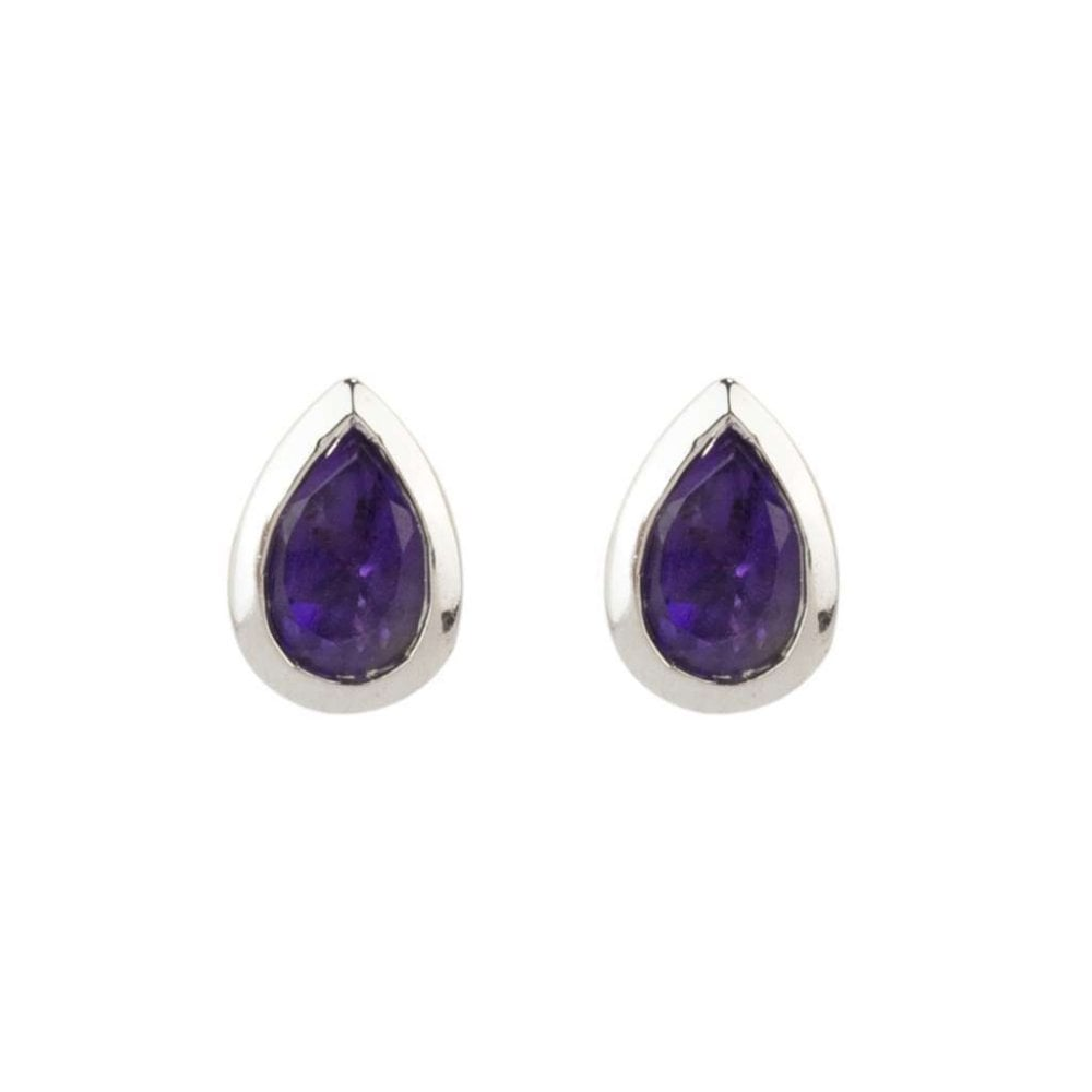 Finnies The Jewellers 9ct White Gold Pear Shaped Amethyst Stud Earrings