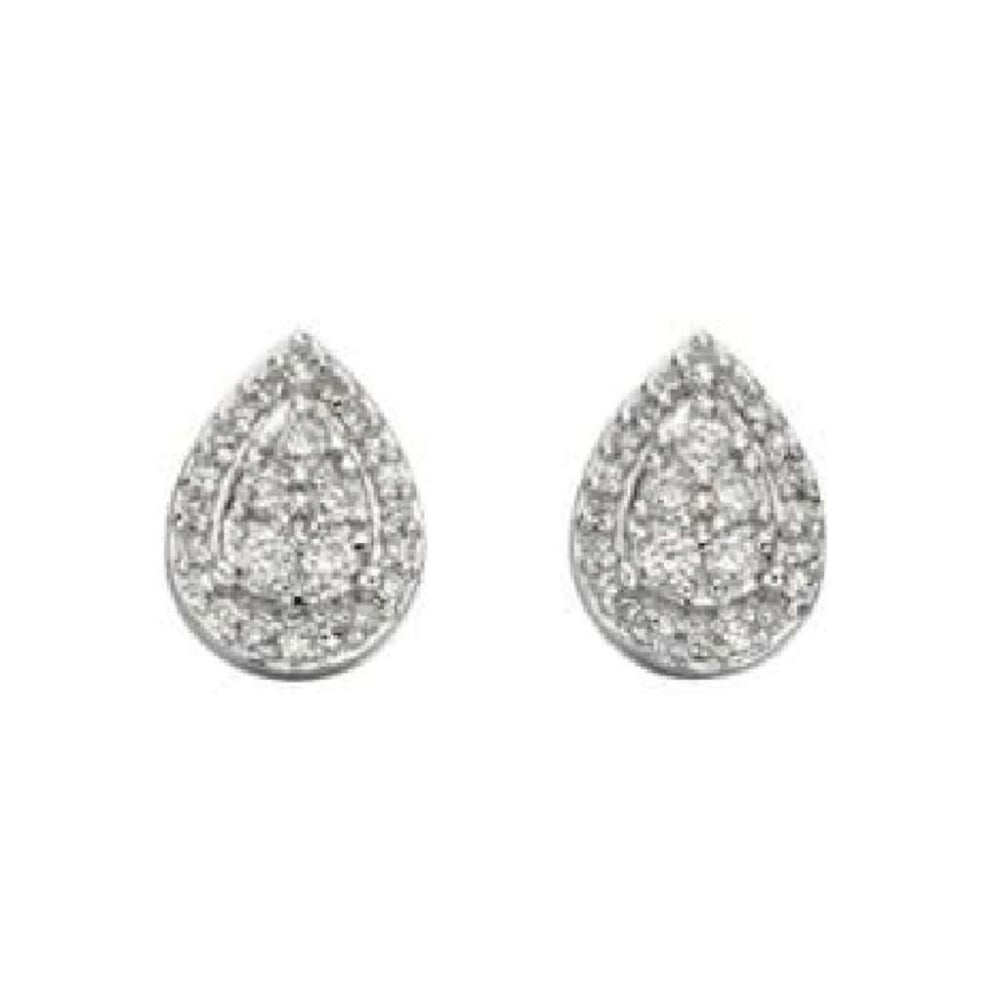onlinestore shaped ajoure stud diamond earrings floral silver