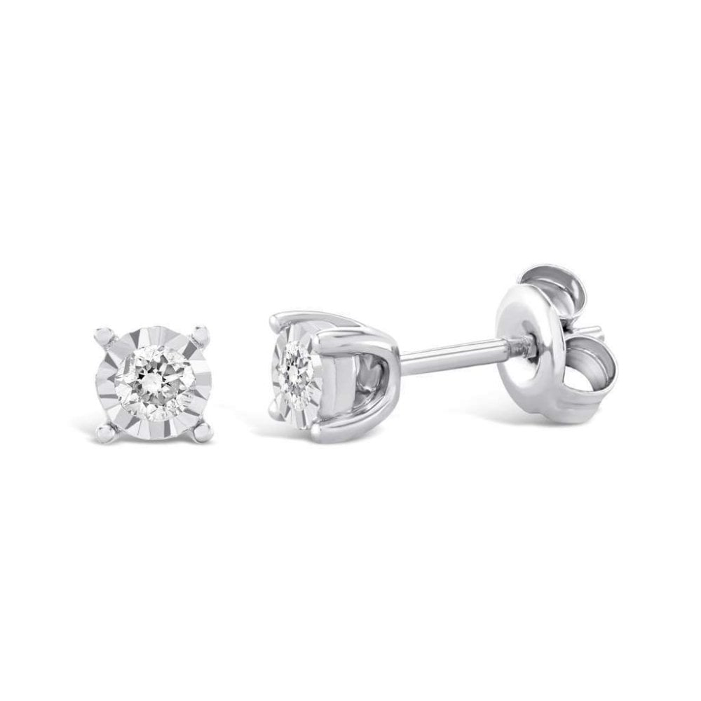 9ct White Gold Solitaire Diamond Stud Earrings 0 25ct