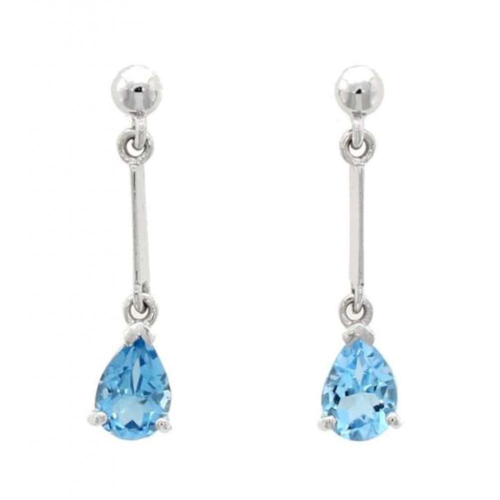 6be73119d24bc 9ct White Gold Stick Drop Earrings with Pear Shaped Blue Topaz