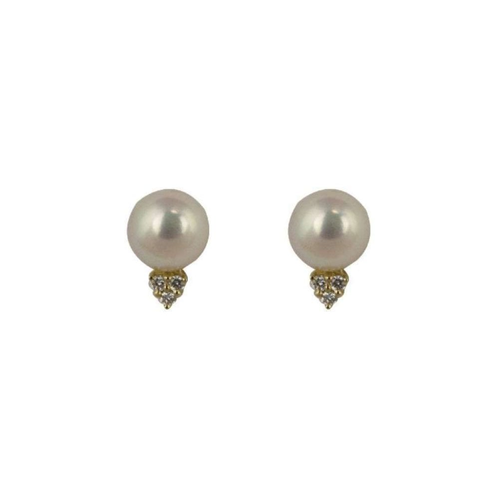 dd683fb4c 9ct Yellow Gold Cultured Pearl and Diamond Stud Earrings