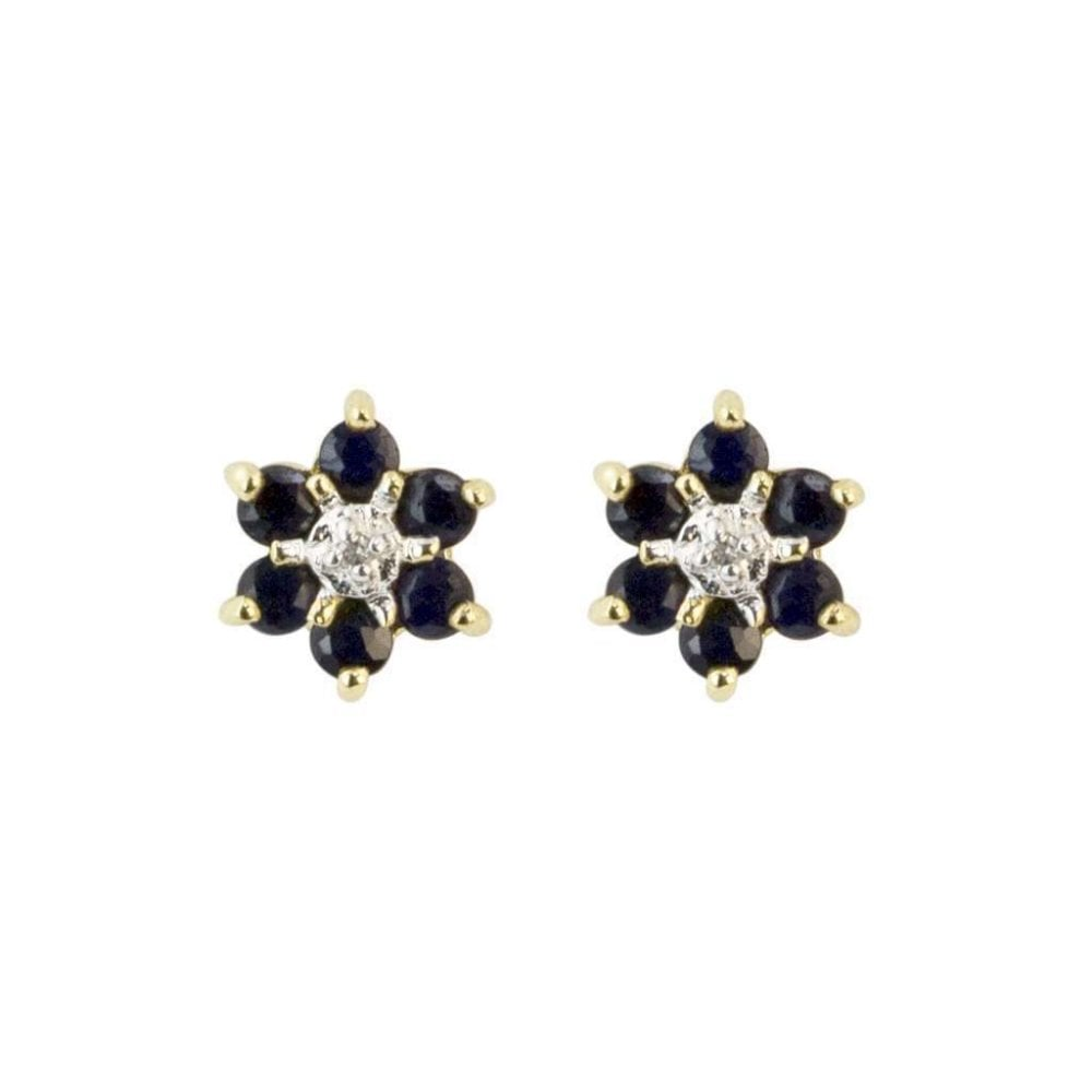 5f9c88581 9ct Yellow Gold Diamond and Blue Sapphire Flower Stud Earrings