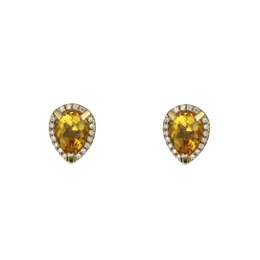 9d412aedee799 9ct Yellow Gold Diamond and Pear Shaped Citrine Stud Earrings
