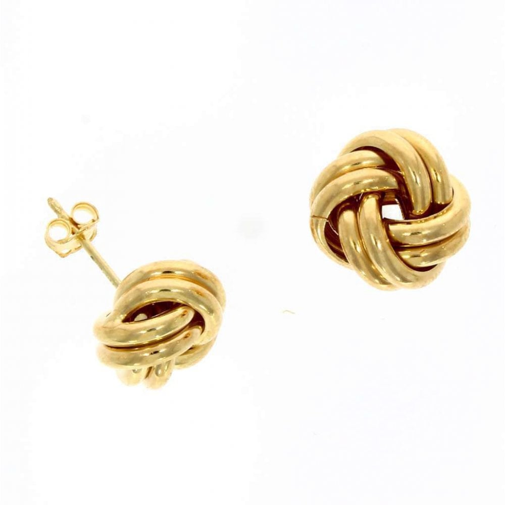 91c49cd2c9f0e 9ct Yellow Gold Large Knot Stud Earrings