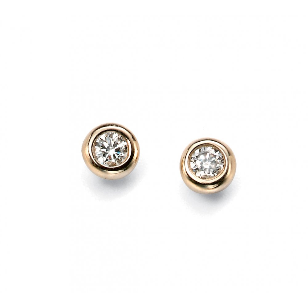 ef5c31e56 9ct Yellow Gold Round Diamond Stud Earrings Rubover Set - Jewellery ...