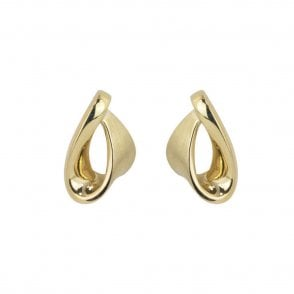 4cef94c68 9ct Yellow Gold Satin Polished Twisted Ribbon Stud Earrings