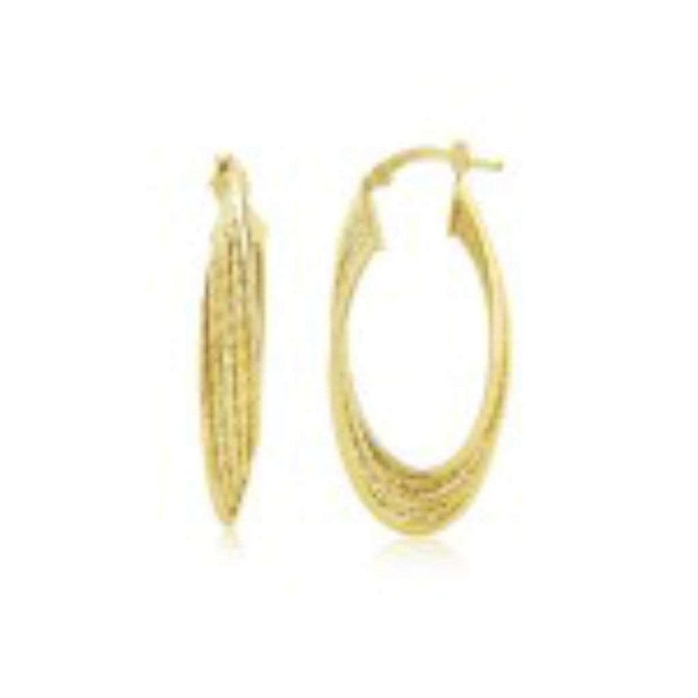 a95a8ecca96cd Finnies The Jewellers 9ct Yellow Gold Twisted Sparkle Hoop Earrings