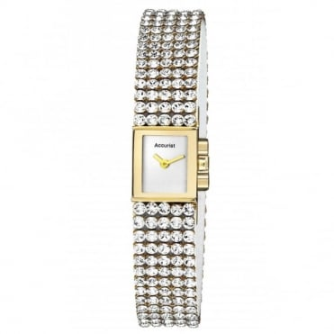 Gold plated crystal bracelet watch
