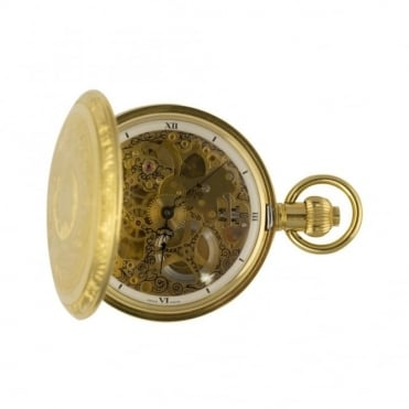 Gold plated full hunter skeleton pocket watch