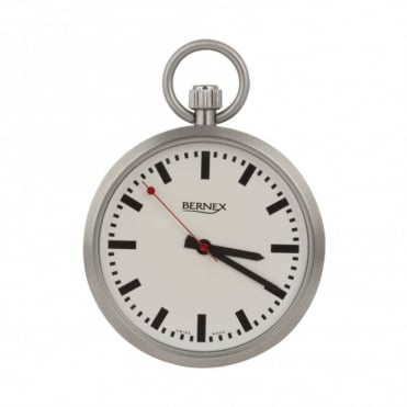 Stainless steel open face pocket watch