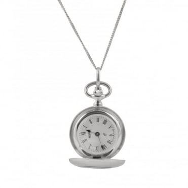 Sterling silver pendant watch with chain