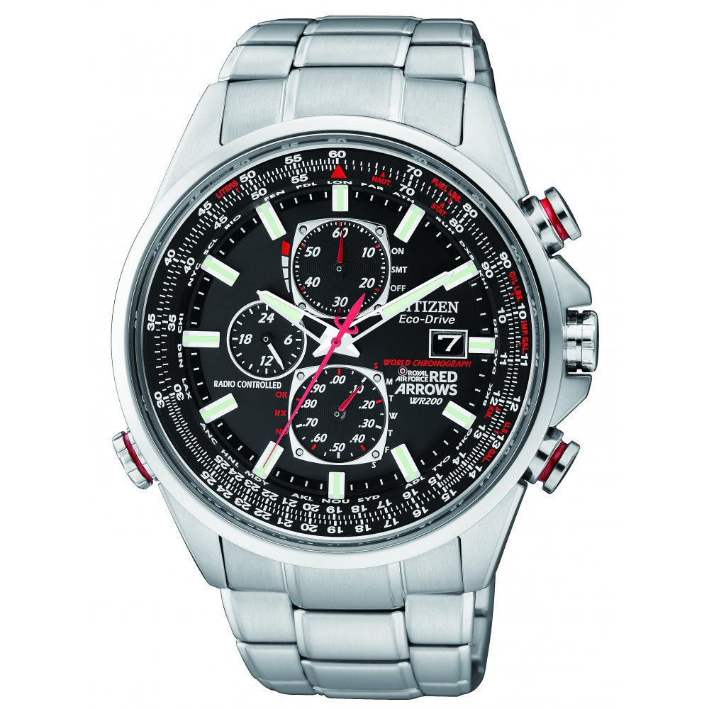 Citizen Red Arrows World Chronograph AT Bracelet Watch From