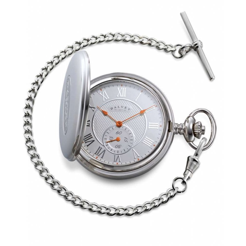 Stainless Steel Full Hunter Pocket Watch ,Chain & Stand