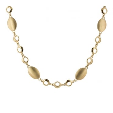 14ct Yellow Gold Necklace with Satinised Ovals and Polished Circles