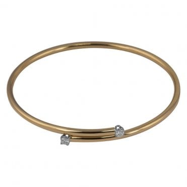 18ct Rose and White Gold Diamond Torque Bangle