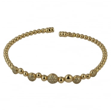 18ct Rose Gold Diamond Bubble & Bead Design Bangle