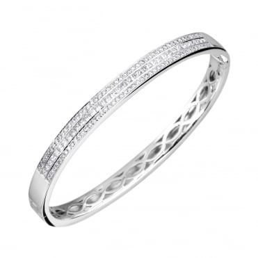 18ct White Gold 5mm Diamond Hinged Bangle